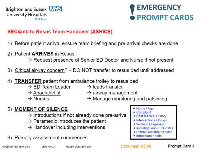 Prehospital team handover