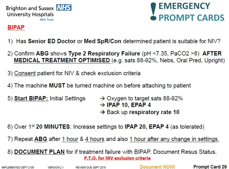 BIPAP prompt card