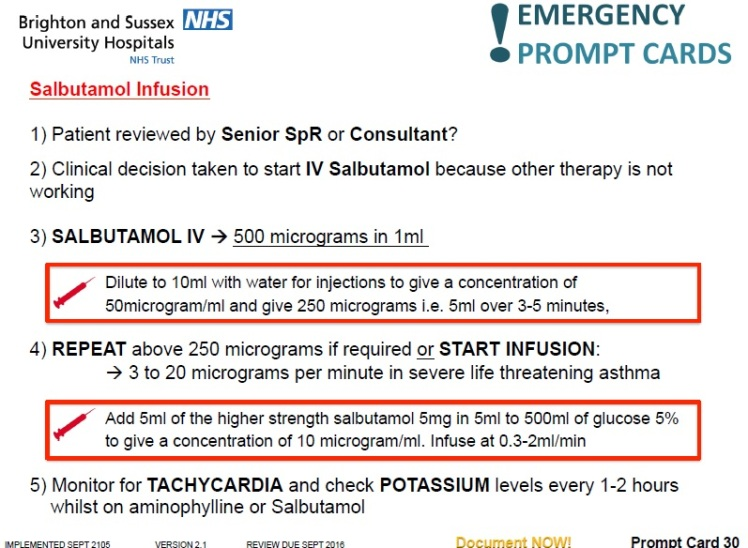 Salbutamol infusion prompt card