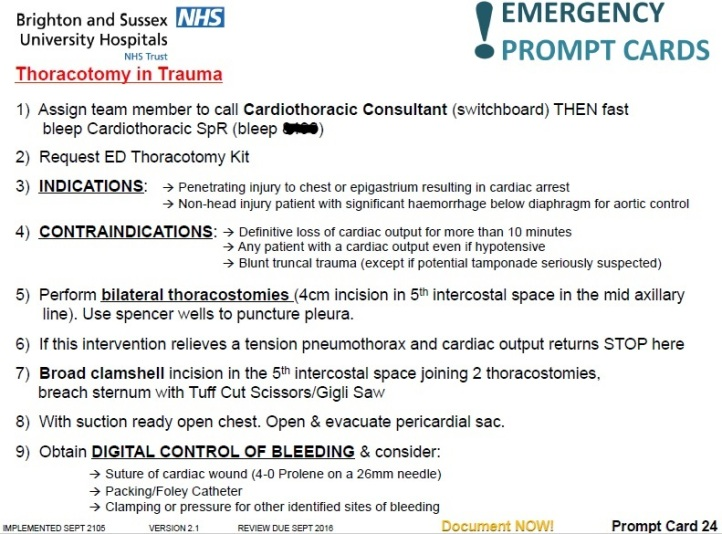 Thoracotomy in trauma prompt card