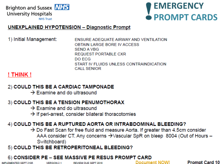 Unexplained hypotension prompt card
